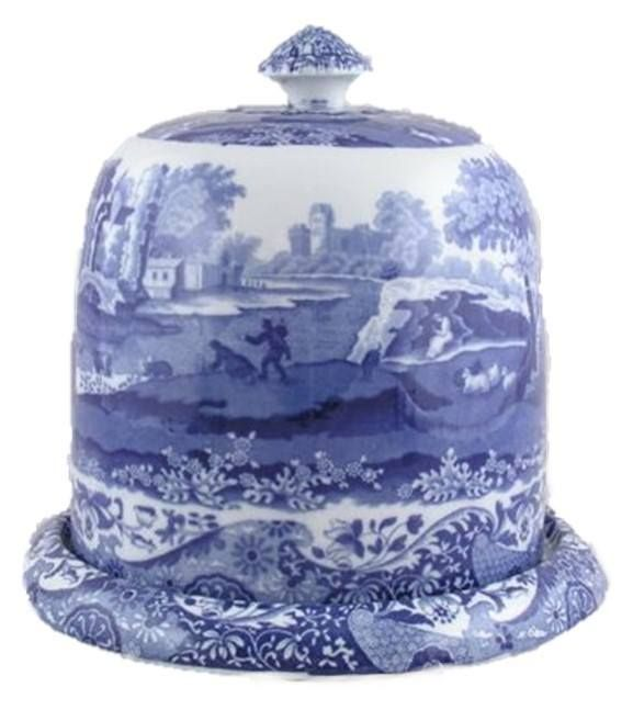 8 inch tall blue transferware cheese dome with under plate