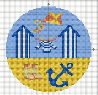 Beach Hut cross stitch pattern