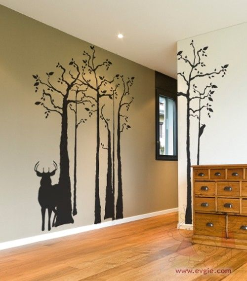 Vinyl Decal Deer Silhouette in the Forest,  Woodpecker -  Removable Sticker. $90.00, via Etsy.