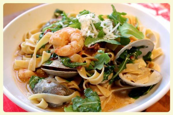 Seafood Tagliatelle Recipe | Tagliatelle with Shrimp, Clams, and White Wine Sauce - The ...