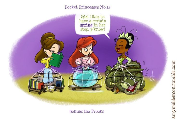 Pocket Princesses by Amy Mebberson  # 27- If Disney princesses lived together: Belle, Ariel, and Tiana