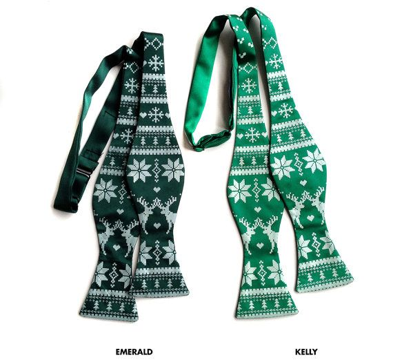 Ugly Holiday Sweater bow tie. Iconic Nordic by Cyberoptix on Etsy