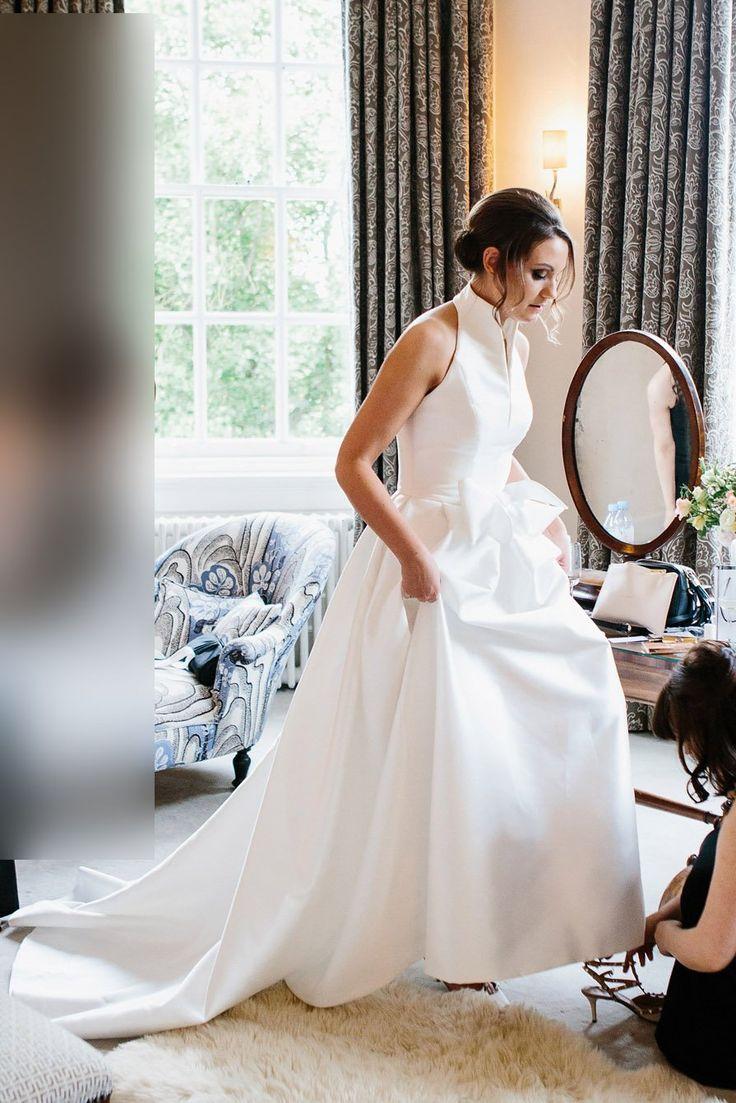 Satin Halfter A-Linie Sweep Zug Brautkleid Mit Bowknot - JoJoBride ON SALE + Sparen Sie mindestens 20% + KOSTENLOSER VERSAND #Hochzeit #Hochzeit #Hochzeitsinspir ...