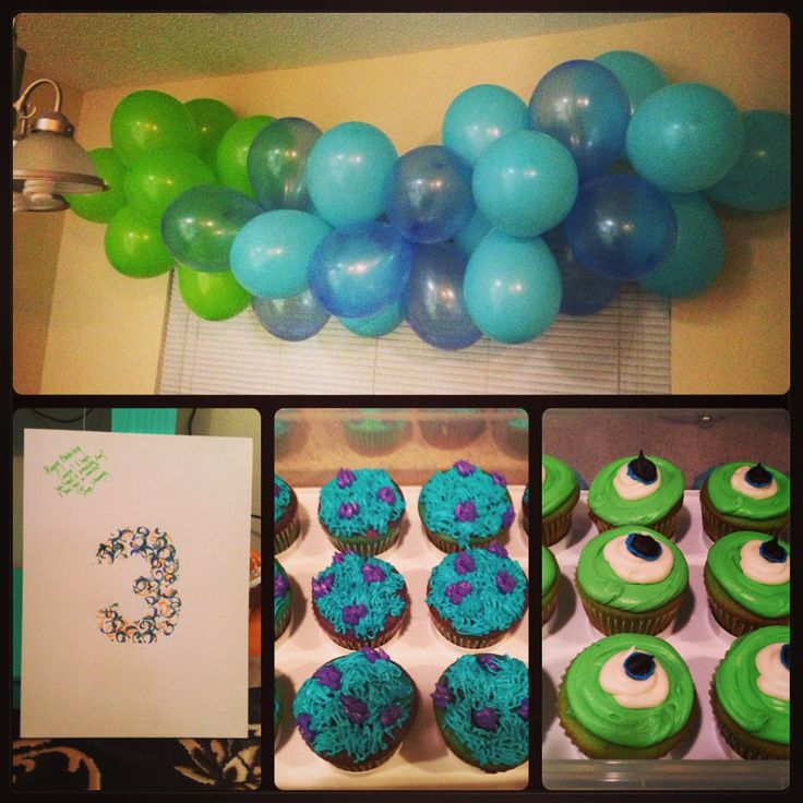 Monster Inc Birthday Mike and Sully Cupcakes balloon display