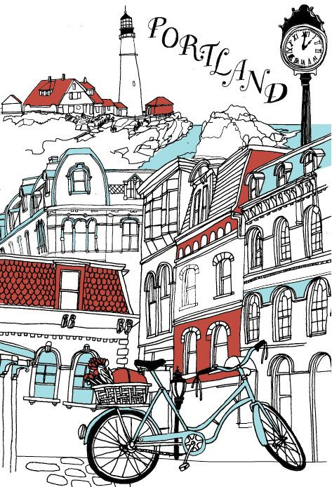 We love city guides from design sponge, How about Maine!    illustration by julia rothman