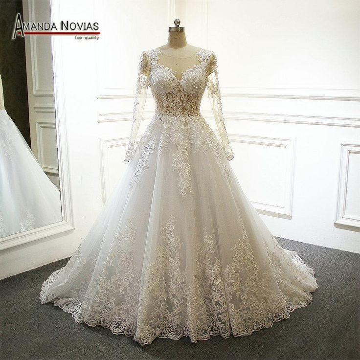 robe de marie epaule Long Sleeve Lace Appliqued See Through Sexy Wedding Dress 2018  #beachweddingdresses #vintageweddingdresses #mermaidbridalgowns #bridalgowns #mermaidweddinggowns #weddingdresses