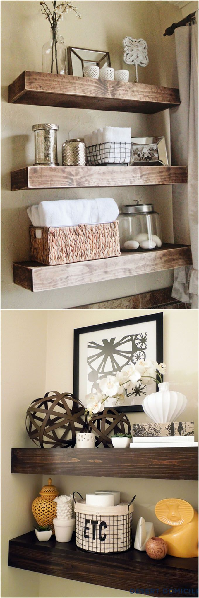 16 easy tutorials on building beautiful floating shelves and wall shelves for your home! Check out all the gorgeous brackets, supports, finishes and design inspirations! | www.homeology.co.za