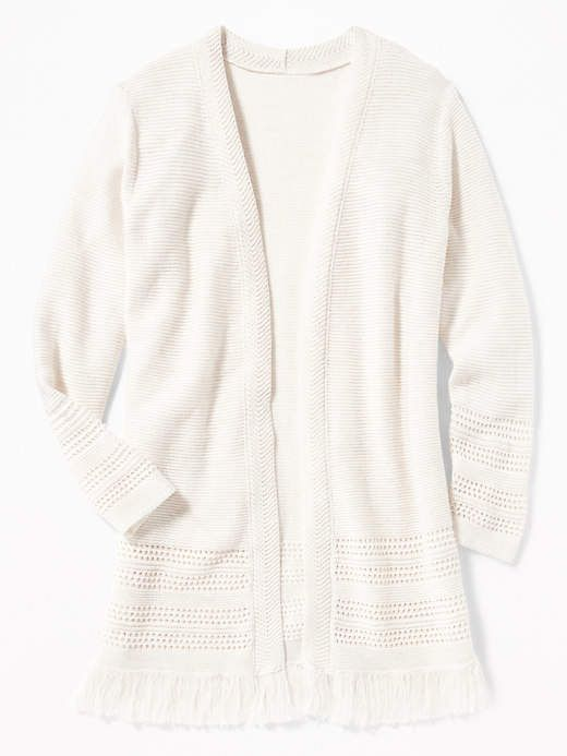 Relaxed Open Front Fringed Hem Sweater For Girls Products