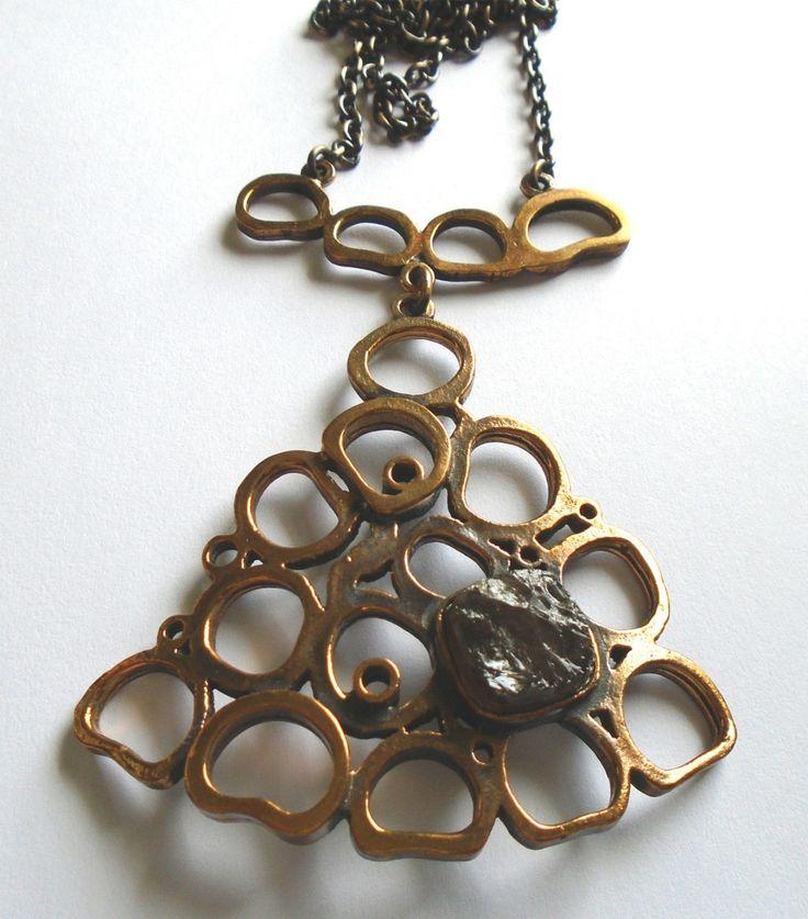 Pentti Sarpaneva (FI), vintage oversized modernist bronze necklace with a smoky quartz stone. #finland | finlandjewelry.com #forsale