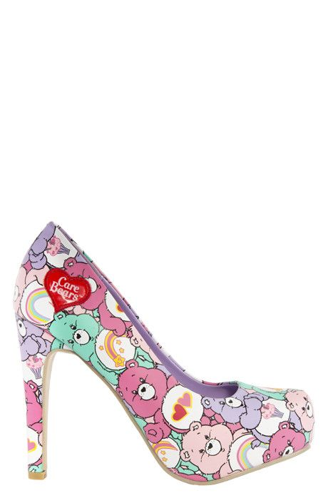 Super high and super cute _ what more could a girl want?! These shoes are part of our official Care Bears collection, so are totally authentic pastel covered 80