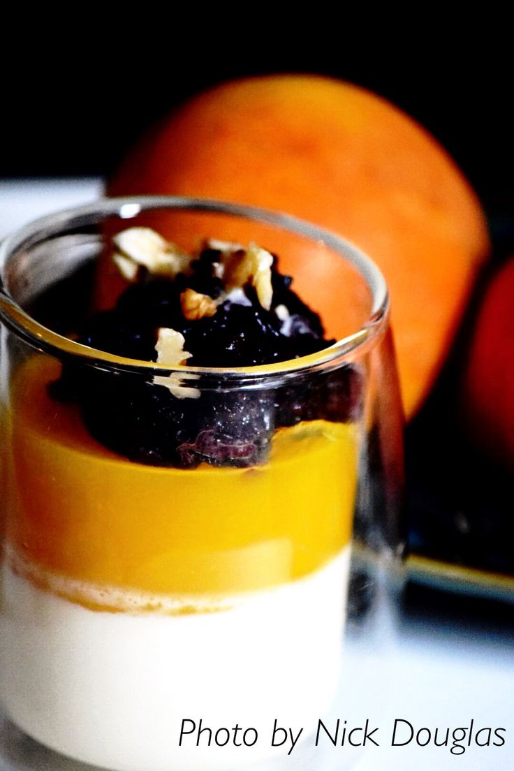 Mango and coconut  Pannacotta   with black sticky rice pudding