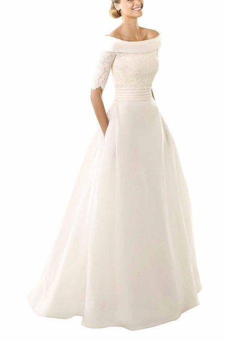 GEORGE BRIDE Oval-collo A-Line pizzo guaina vestiti da sposa ,Taglia 48,Avorio EURO 179,00
