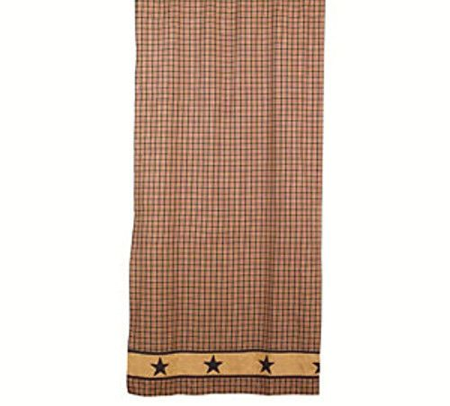 New Primitive Country Bath Black Tan Burgundy JEFFERSON STAR Shower Curtain