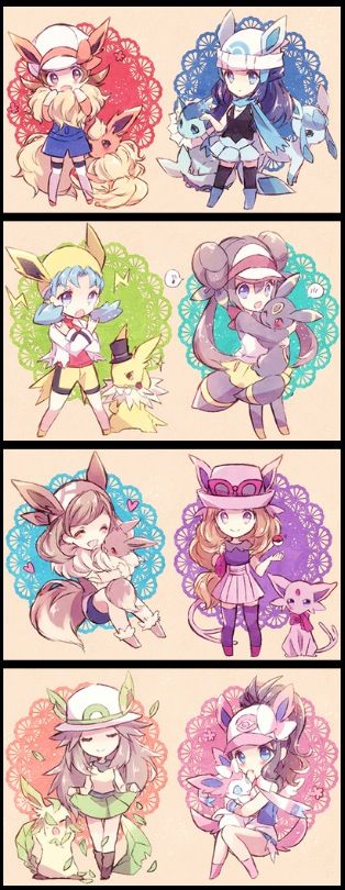 Evoluciones de Eevee con sus dichas entrenadoras / Eevee evolutions with her/his trainers