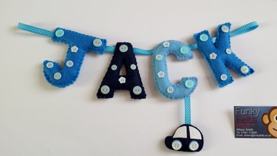Personalised Felt Garland for baby or child's by funkyfelts1