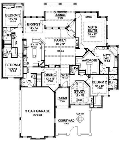 Plan 36226tx one story luxury with bonus room above for House plans with bonus room over garage