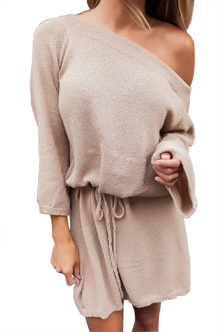 Ready to ship: Chicloth Khaki Of.... http://chicloth.com/products/chicloth-khaki-off-the-shoulder-knit-sweater-dress?utm_campaign=social_autopilot&utm_source=pin&utm_medium=pin
