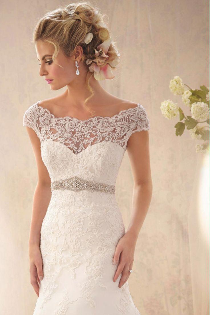 2014 Graceful Off The Shoulder Lace Bodice Beaded Waistline Sheath/Column Wedding Dress With Applique
