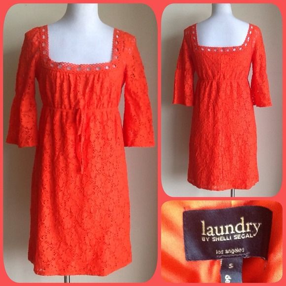 Tonight only Sale Laundry Orange Lace Dress Laundry bright orange stretch lace dress. Like new and the perfect Summer dress. Laundry by Shelli Segal Dresses