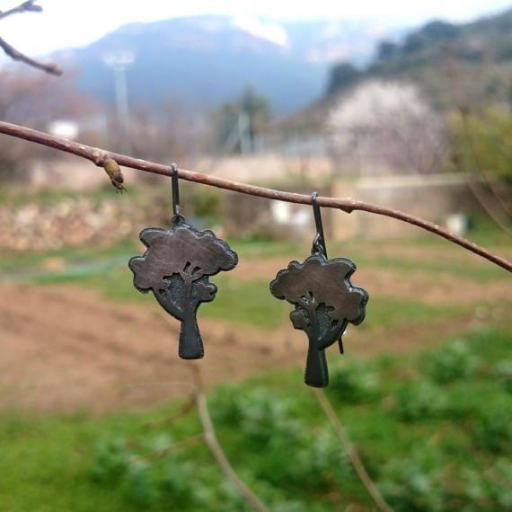 Pendientes de plata con forma de árbol. por horivert en Etsy
