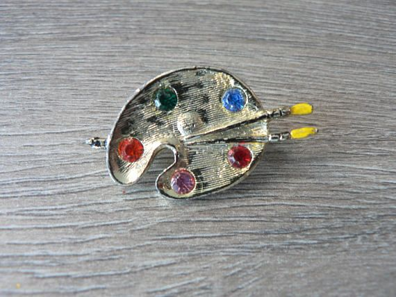 Artist's Paint Palette and Brushes Brooch