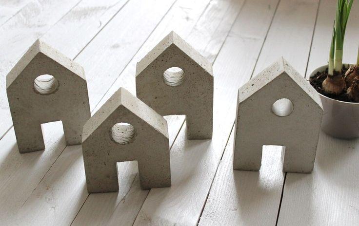 Deko-Objekte - Beton Haus klein - ein Designerstück von Casa-Ambiente bei DaWanda
