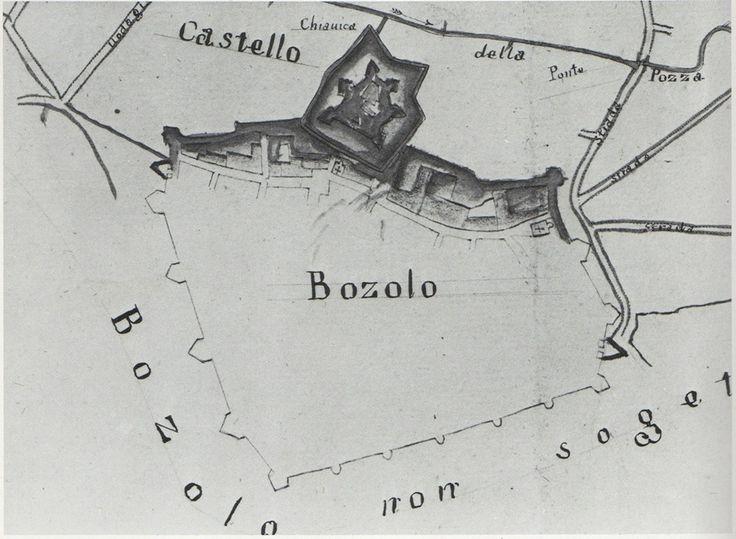 """Bozzolo: pianta della perduta Cittadella, qui indicata come """"Castello"""".Mappa di Bartolomeo Manfredini 1783. Archivio di Stato Mantova."""