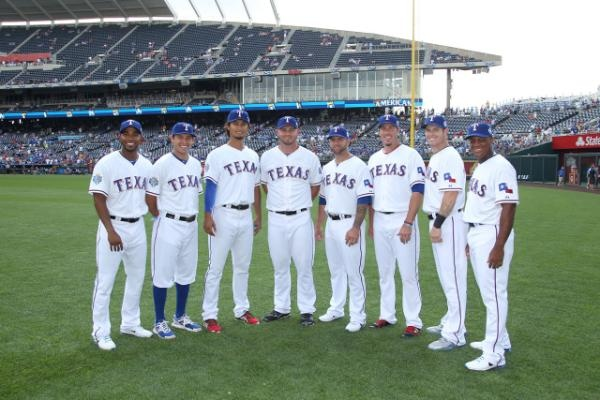 Texas Rangers at the 2012 All-Star Game: Elvis Andrus, Ian Kinsler, Yu Darvish, Matt Harrison, Mike Napoli, Joe Nathan, Josh Hamilton, & Adrian Beltre