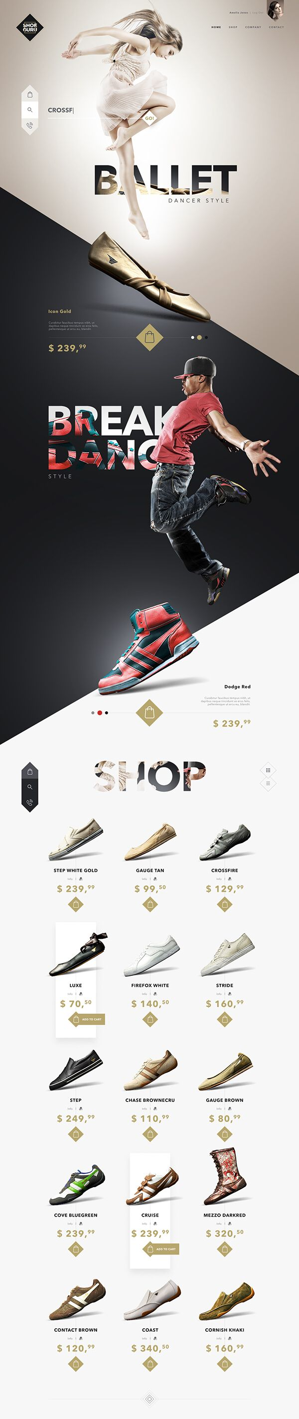 This web page is a  design concept for Fashion Store website which features a variety of shoes at various prices and for various occasions. The website looks very nice with people jumping giving a sense of action, but I think that the shoes should have their individual actions to show off their unique capabilities.