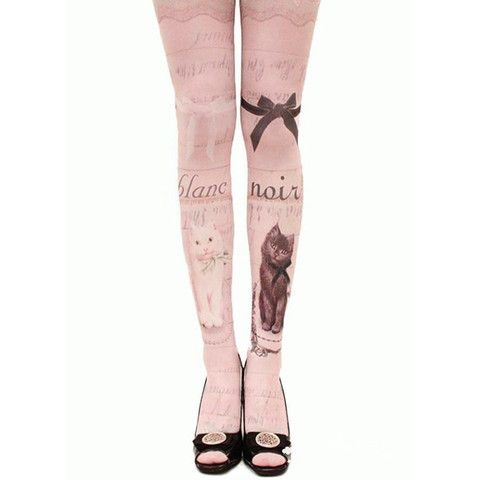 Kitty cat and lace baroque print stocking pantyhose tights in pink