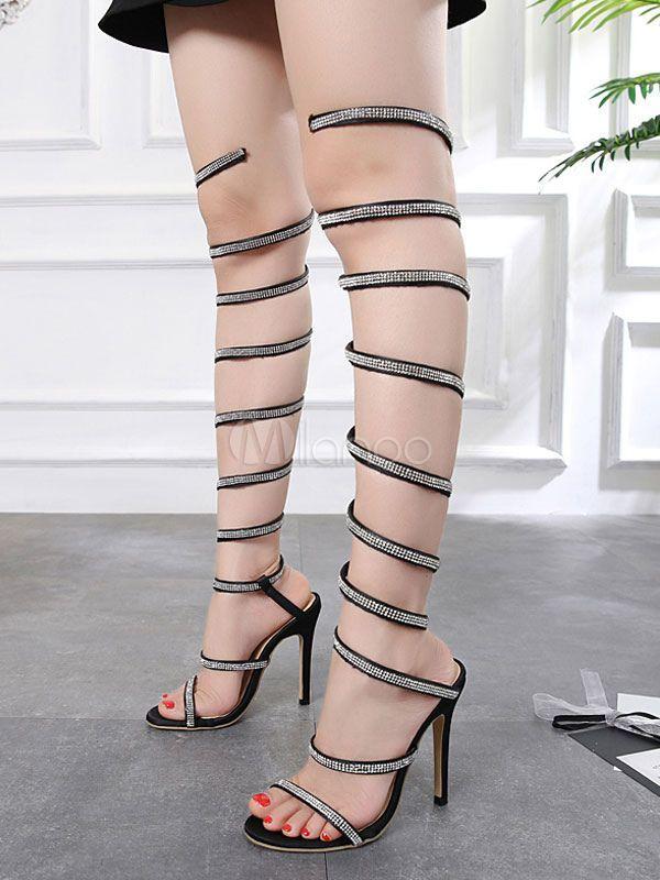 1f6d76c3917 Women Gladiator Sandals Black Open Toe Rhinestone Thigh High Sandals Satin High  Heel Sandal Shoes