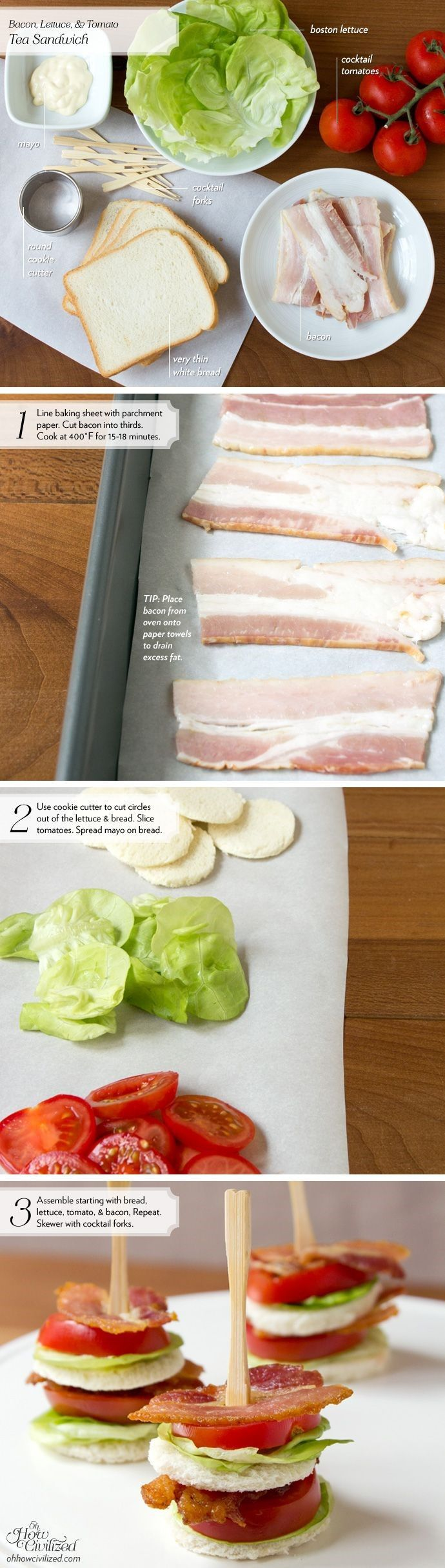 BLT tea sandwiches, finger food, party food. INGREDIENTS (cut into circles): Bacon, bread, tomatoes, lettuce, mayo. (skewer and serve)