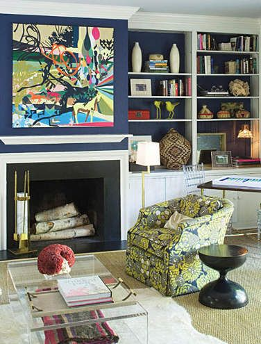 colors!: Interior, Living Rooms, Navy Walls, Color, Livingroom, Barrie Benson, Decorating Ideas, Family Room, Painting