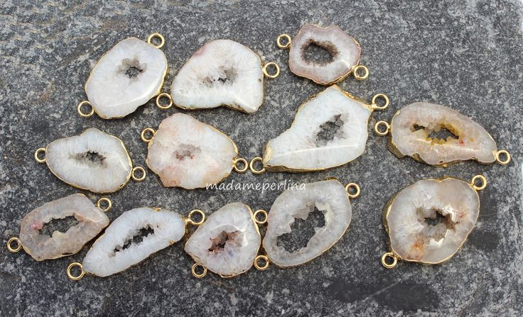 Druzy connectors white beige gold edges from my Etsy shop https://www.etsy.com/listing/535653435/you-choose-agate-druzy-connector-gold