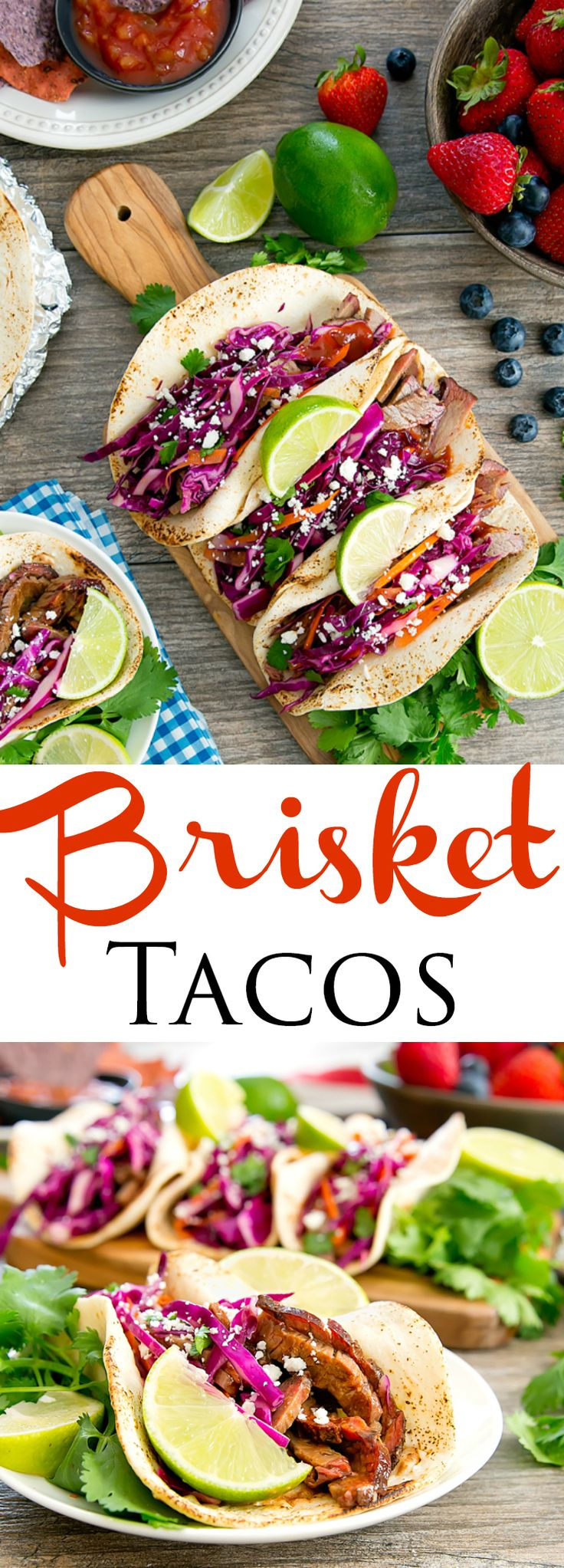 Brisket Tacos with Red Cabbage Slaw. Perfect for a summer BBQ!