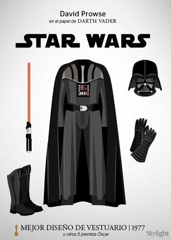 La ropa de Darth Vader (alias Luke, yo soy tu padre) nació de la mente de John Mollo gracias a la unión un casco inspirado en los que usaban los nazis en la Segunda Guerra Mundial, una máscara de gas, una chaqueta de motociclista, botas negras de cuero y una capa de monje.