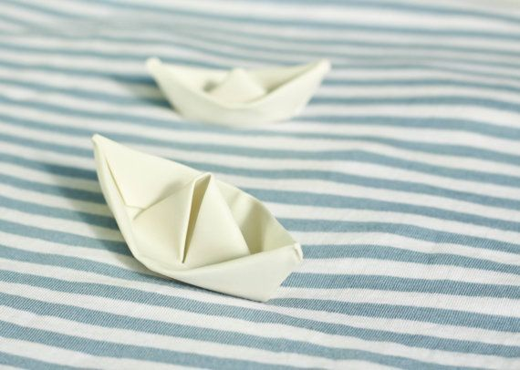 Porcelain white boat. Ceramic miniature. Folded by CONCEPTceramic