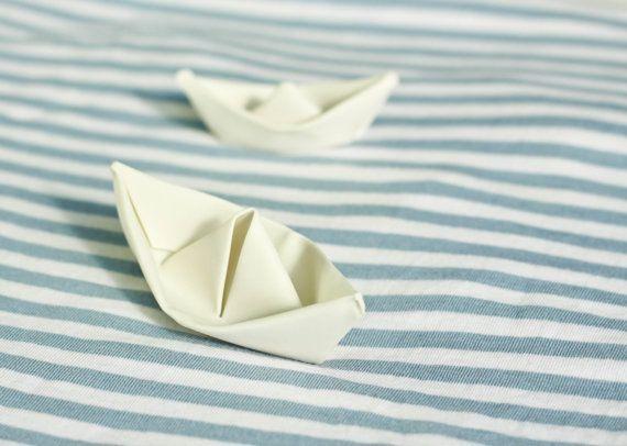 10% Sale. Porcelain white boat. Ceramic miniature. Folded porcelain. Small decorative figure. Origami  boat  collection by Concept studio.