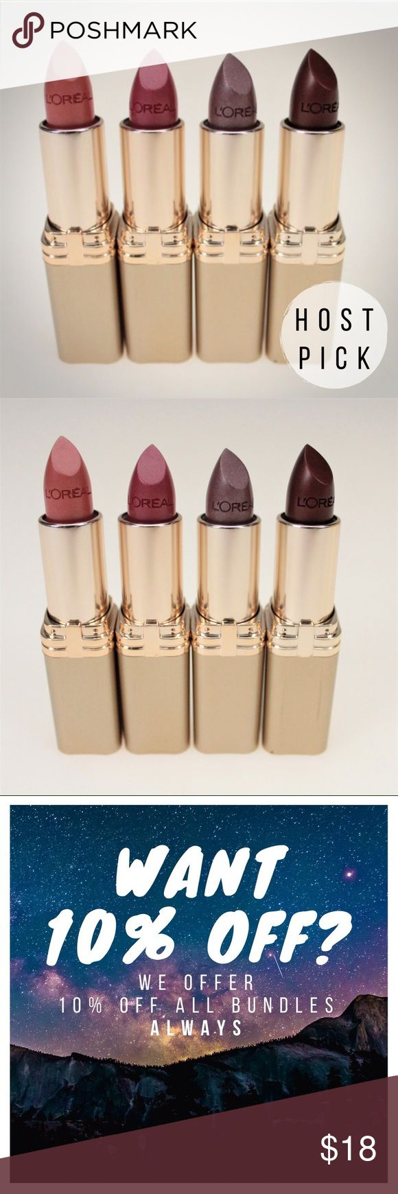 L'Oreal Colour Riche Lipstick Set of 4 This set comes with 4 tubes of Colour Riche moisturizing lipstick in 417 Peach Fuzz, 580 Peony Pink, 760 Silverstone, & 825 Bronzine. All four are brand new and have never been swatched. L'Oreal Makeup Lipstick