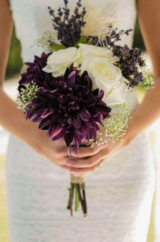 Fall Wedding Bouquet Mixture Of Silk Everything Deep Purple