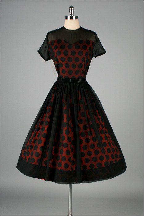 Vintage 1950s Red Polka Dot & Black Chiffon Dress