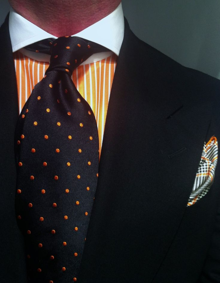 WIWT General rehearsal for tomorrow - sympathise with my neighbours' the Dutch - orange madness - Dressed For Success suit by Oger with orange striped shirt and microdot tie all Purple Label by Ralph Lauren