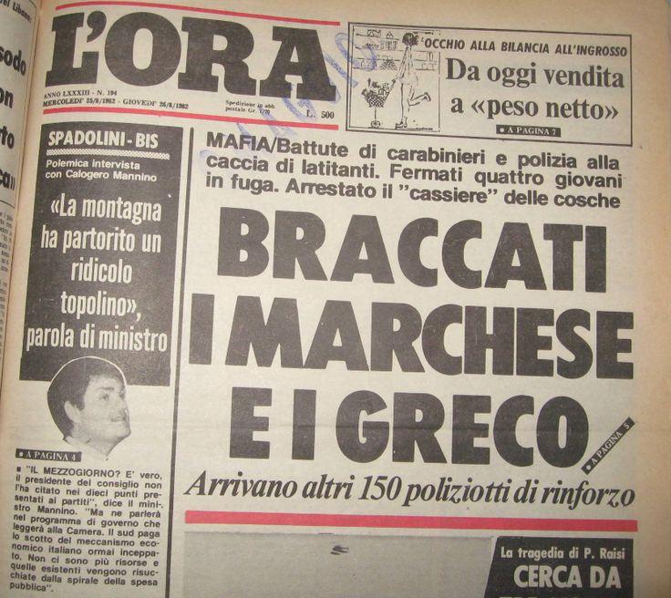 26 agosto 1982, L'Ora, prima pagina