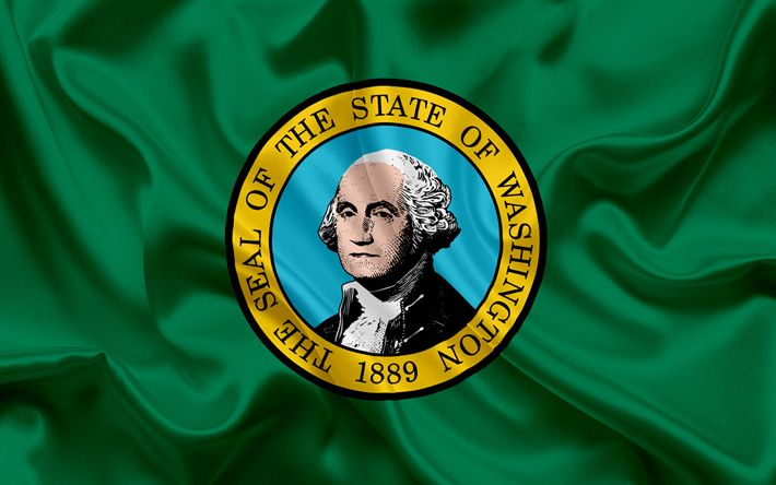 Download imagens Washington Bandeira Do Estado, bandeiras dos Estados, bandeira do Estado de Washington, EUA, estado de Washington, De seda verde bandeira, Washington brasão de armas