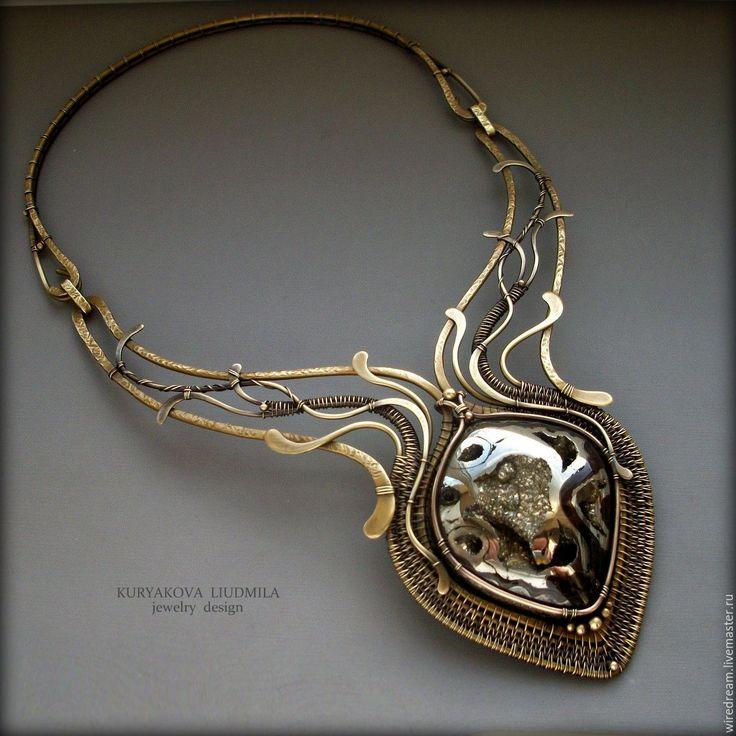 Купить латунное колье с жеодой Сердце камня - комбинированный, колье, колье латунь, колье с камнем