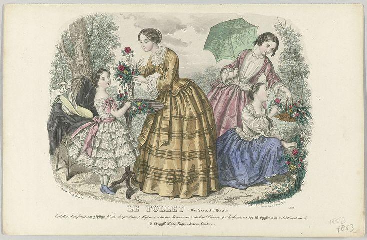 Anonymous | Le Follet, 1853, No. 1816 : Toilettes d'enfants..., Anonymous, Gerval, 1853 | Een vrouw en een meisje zijn op een tafel bloemen aan het schikken. Twee andere meisjes zijn bloemen aan het plukken. Volgens het onderschrift dragen zij kinderkleding van Zéphyr. Hieronder enkele regels reclametekst voor verschillende producten. Prent uit het modetijdschrift Le Follet Courrier des Salons (novembre 1829- octobre 1882).