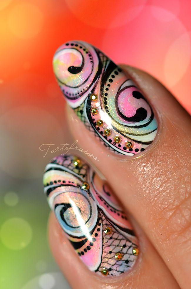 Intricate nail art design...Fresh! ;)