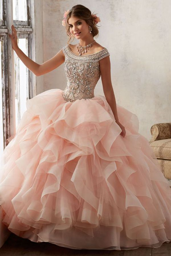 Bright Blush Pink Quinceanera Ball Gowns Strapless Sweet 16 Tulle Long Cute Evening Dress Party Gown