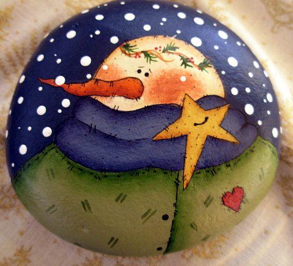 Muñeco de nieve & estrellas pisapapeles - pintado a mano