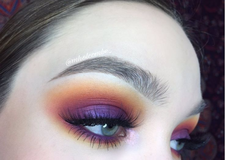Metallic orange and purple blended eyeshadow